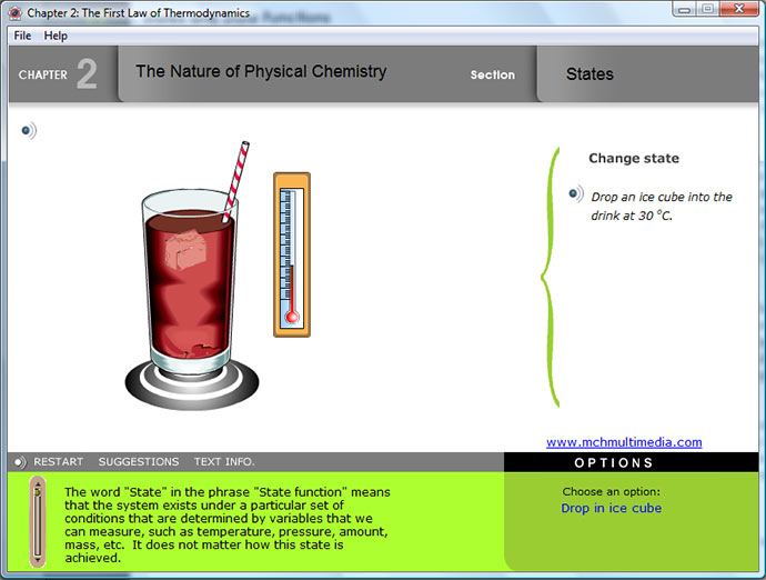 Screen grab of multimedia explanation of State Functions in Physical chemistry textbook